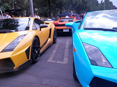 Party Of Three (CL-19) Tags: auto county blue summer orange white cars sports car sport yellow woodland la los power angeles sunday stripe july fast automotive super canyon racing hills exotic v lp topanga lamborghini rare coupe meet supercar gallardo 550 lambo superleggera 2011 balboni worldcars lp550