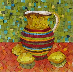 Santalina (Ginny Sher) Tags: stilllife orange green art glass fruit table lemon mosaic stripes pitcher smalti