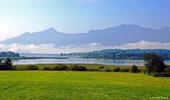 Chiemsee bei Hochsttt (dorena-wm) Tags: blue sky cloud mountain lake alps tree green water berg forest bayern bavaria see wasser meadow wiese himmel wolke berge grn alpen blau wald baum chiemsee chiemgau hochsttt dorenawm renatedodell