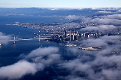 Marine Layer (Chris Saulit) Tags: sf sanfrancisco city bridge cloud fog clouds oakland bay fly flying cloudy aviation flight aerial baybridge embarcadero bayarea skyhawk cessna 172 vfr marinelayer ahart generalaviation baytour sfobb baytour20110724 sfbaycoast