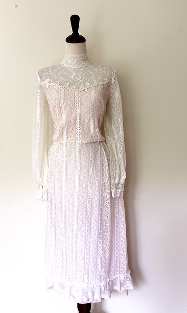 Victorian-Inspired Lace Tea Length Dress, vintage 1970s