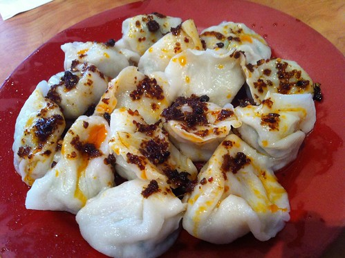 steamed pork dumplings with chilli oil