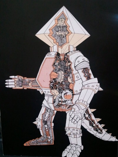 Crystal Mecha Cut Away Illustration
