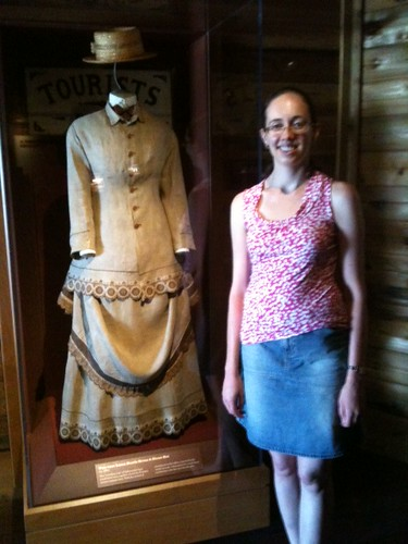 Amy with an old linen dress in the Florida history exhibit