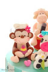 Baker Monkey! (Little Cottage Cupcakes) Tags: birthday cakes daisies monkey cow baker sheep stripes cupcake bow microphone ram fondant sugarpaste littlecottagecupcakes