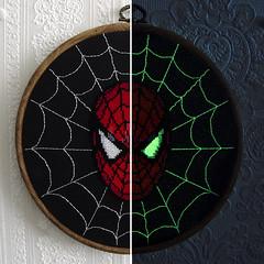 The Amazing Spider-Man/Split (stitchFIGHT) Tags: crossstitch cross stitch embroidery spiderman glowinthedark marvel xstitch