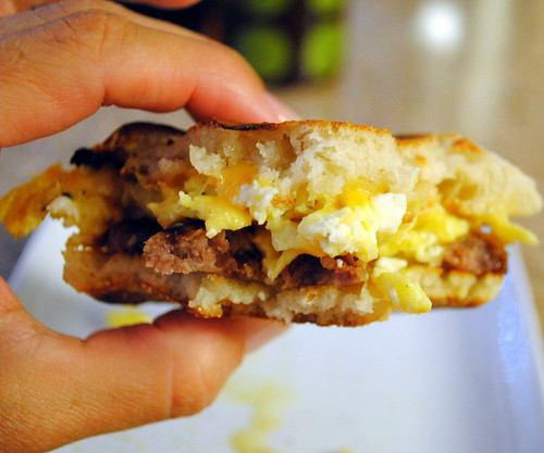 ... Muffin Breakfast Sandwich with egg, cheese and sausage | Crazy Jamie