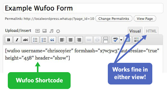 Wufoo Shortcode Example