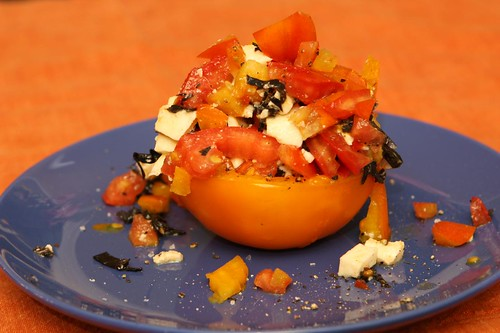 Stuffed Tomato with Mozzarella and Opal Basil