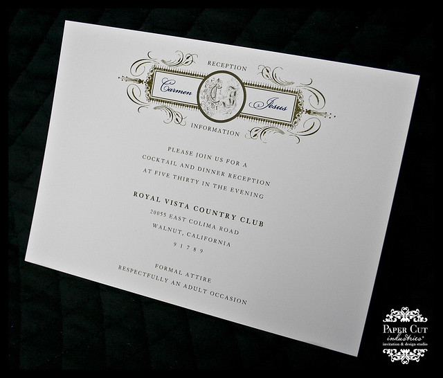 Custom Navy Blue and Gold Envelopments Wedding Invitation