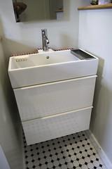 Ikea Lillangen Sink w/ Godmorgon Cabinet (Tiny Haus) Tags: white ikea tile bathroom hack remodel gogmorgoncabinet lillangensink