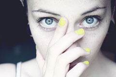 (skelseys) Tags: blue portrait woman girl yellow self canon nose rebel 50mm eyes eyelashes f14 nails piercings medusa plugs gauges xsi nostrils philtrum