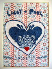 libby and paul wedding embroidery. (Laura Hartrich) Tags: bunnies heart embroidery craft rabbits weddinggift libbyandpaul yearoftherabbitwithlove