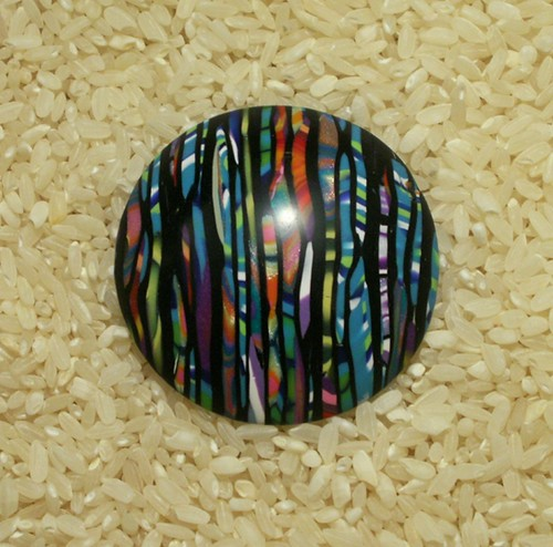 Large Dome Pendant - polymer clay Stroppel cane