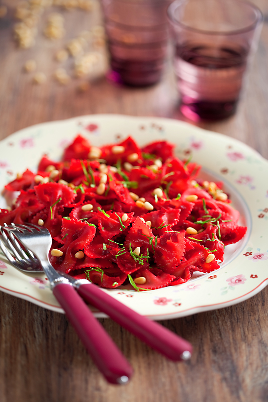 Farfalle with beets
