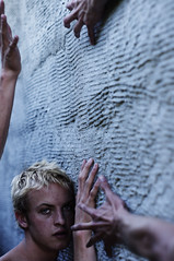 The theory of hands, pt.II (David Talley) Tags: texture wall hair concrete weird scary hand fingers spooky blonde haunting attacking