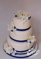 Sam & Steve's Wedding Cake (Jen's Cakery) Tags: rose cake butterfly hydrangea ge royalblue