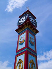 up-clock (AFEXPhotography) Tags: blue red sky tower clock photography ship fuji time jubilee explore finepix dorset weymouth intrestingness weymouthjubileeclock jubileeclock s100fs weymouthclocktower stswilliams