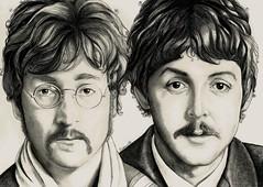 lennon & McCartney 1967 (Portraits By Georgina Flood) Tags: portrait people art pencil john hair paul 1967 beatles lennon mccartney picnik the