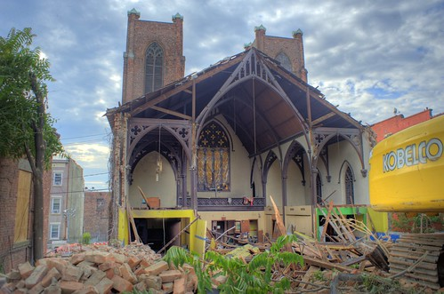 Trinity Church in Albany, N.Y., as it goes through demolition - HDR capture