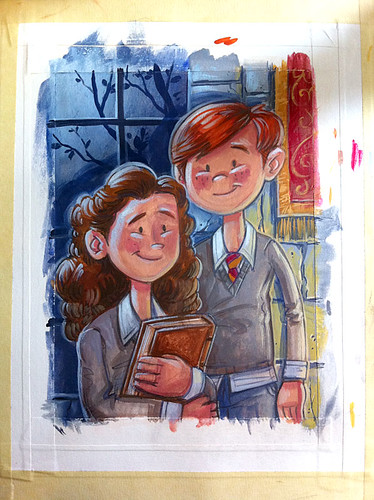 Ron and Hermione - Painting in progress