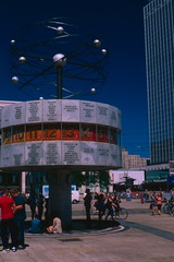 Weltzeituhr (lennox_mcdough) Tags: film analog canon germany deutschland fuji slide 35mmfilm alexanderplatz negativescan eos5 velvia50 reversal weltzeituhr a36 canonef50mmf14usm canoscan9000f