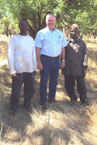 Rev. Roosevelt Tarlesson moved from Liberia to establish a farm community and non-profit foundation in Capay Valley, California. Shown here (right to left) are Rev. Tarlesson, FSA State Executive Director Val Dolcini and the Reverend's son Taihpan