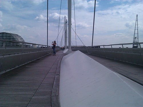 On the Royal Victoria Dock bridge