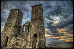 twin towers (J.W.Turner) Tags: sunset sky tower abbey clouds canon coast kent ruin tokina tone hdr 1224 mapped 500d reculver
