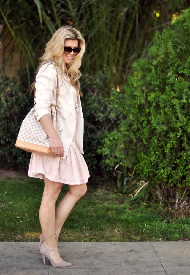 soft pink satin dress with white blazer and mauve suede pumps
