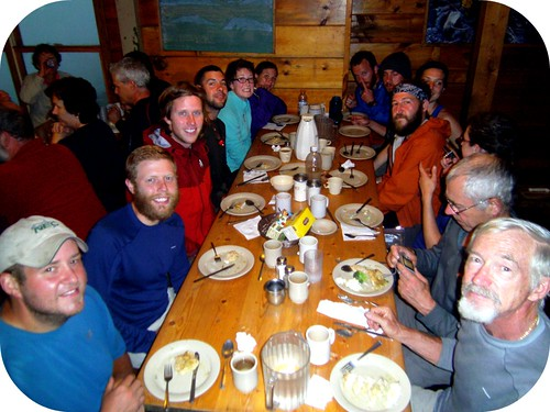 Dinner at Lakes of the Clouds hut. (left side from front: Brownie, Loop, Upstate, Face Jacket, Tide, Kiddo. Right Side from front: Beer Hunter, Timber, Seaweed, El Bear Jew, Rock Puncher, Hot Sauce, Beau)