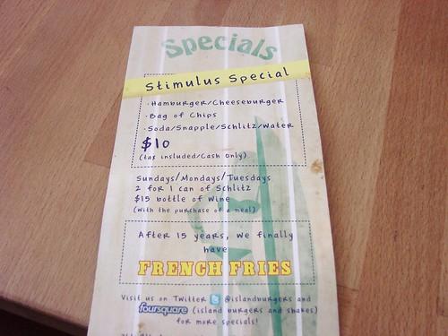 Island Burger Stimulus Special