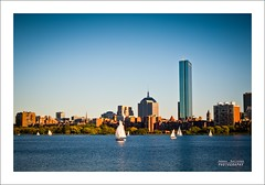 Boston memories (Andrea Rapisarda) Tags: sunset usa boston skyline buildings river boats sailing fiume olympus barche goldenhour oly rivercharles e620 andrearapisarda