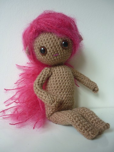 Crochet sprite with pink hair