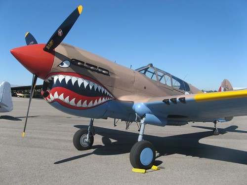 Plane Shark Mouth WW2 http://ken-mcconnell.com/2011/07/23/boise-bee-dedication-day/