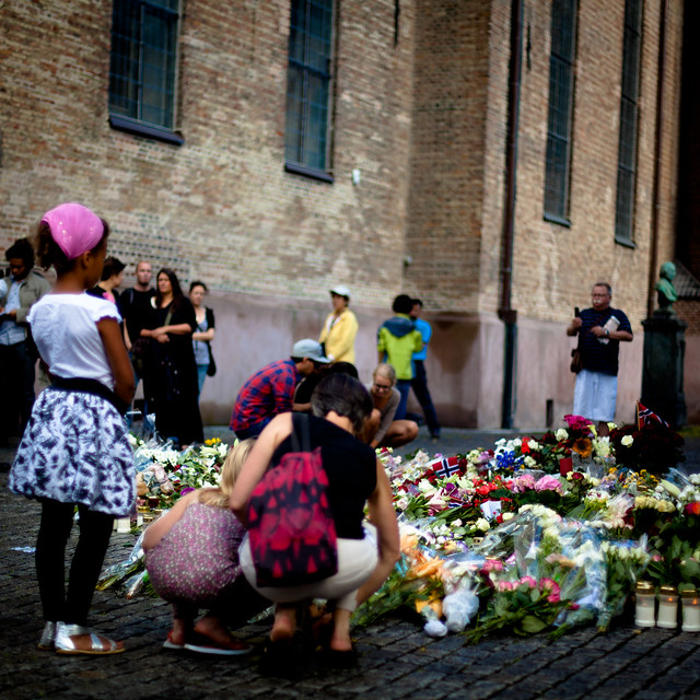 Memorials and flowers at the Oslo Cathedral (Oslo Domkirke)