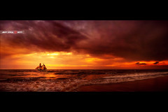 Pirates (Jeff Krol) Tags: sunset sea panorama sun seascape birds clouds island waves mood ship view widescreen pirates pano fear explore shore cinematic hdr explored jeffkrol