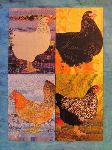 four chicken postcards