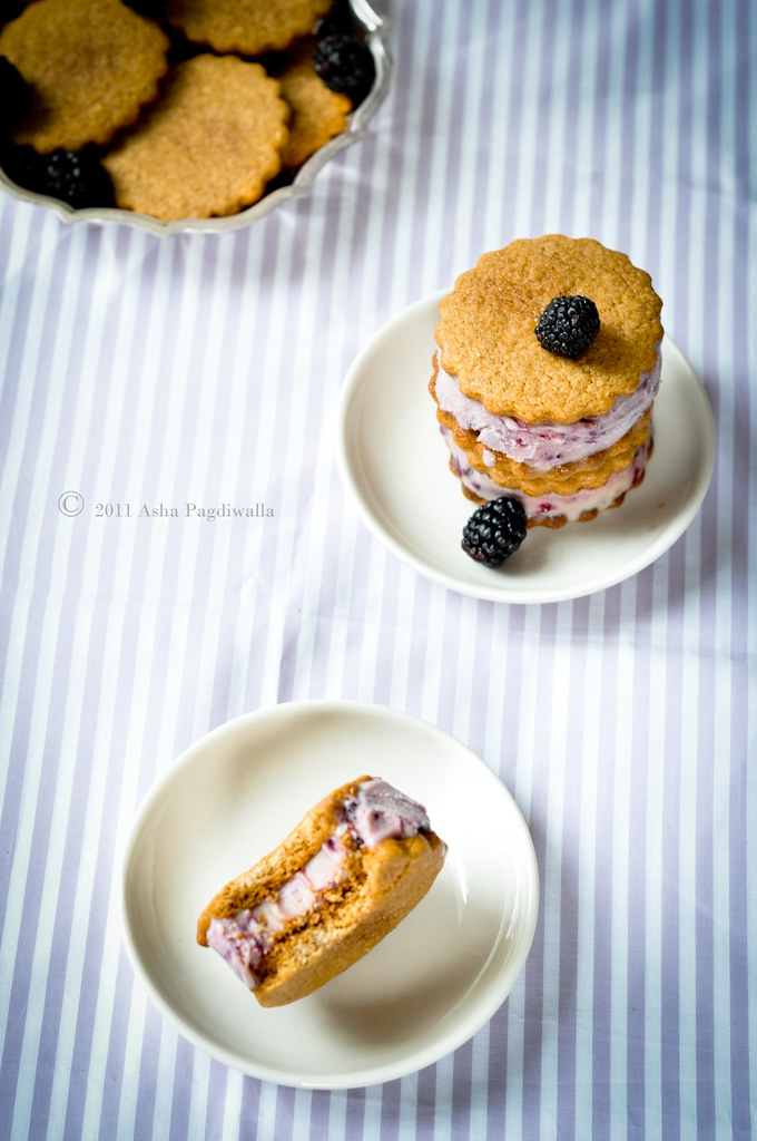 Blackberries and Sage icecream sandwiches