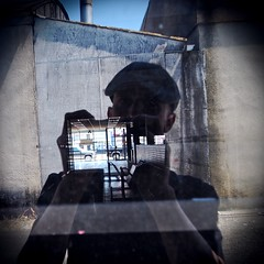 Self-portrait reflection () Tags: selfportrait reflection building abandoned way square photo image empty south picture photograph tacoma vignette