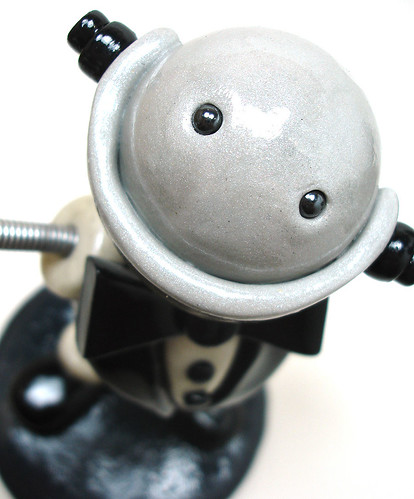 Robot Sculpture | Spiffy Bot in a Tux | Sign Holder by HerArtSheLoves