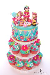 Happy 2nd Birthday my little Emily! (Little Cottage Cupcakes) Tags: birthday flowers blue girl cake cupcakes picnic purple turquoise bee fairy ladybird mauve teacups teapot fairies magical sandwiches toadstools bunting hotpink fondant cherrypie cupcaketower flowerfairies sugarpaste littlecottagecupcakes