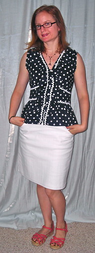 Polka Dot with White Skirt