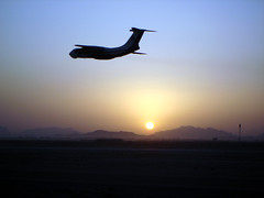 IL 76 transport takes off into the desert sunset (ChrisUK27) Tags: blue sunset orange sun afghanistan plane flying flickr desert aircraft transport flight il76 ilyushin