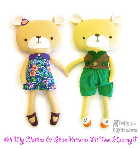 kawaii teddy bear stuffed toy softie sewing pattern dress up - a ...