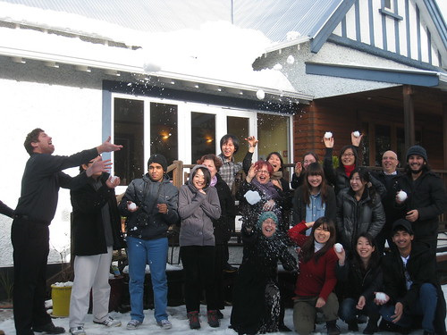 national Christchurch students & staff with their snowballs