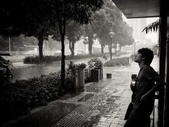 Unexpected Rain (imsuri) Tags: china road street people blackandwhite white man black rain blackwhite waiting chinese streetlife panasonic wait 20mm unexpected  nanning guangxi sudden  f17  gf1  streetsnap dmcgf1