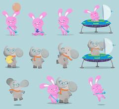 (Sivan Baron) Tags: elephant cute bunny animals illustration flash vector characterdesign sivanbaron