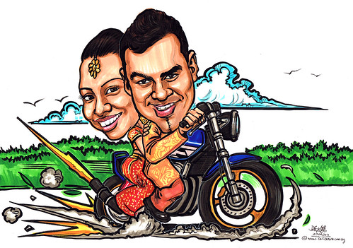Indian traditional wedding couple caricatures on Hoda Super 4 bike