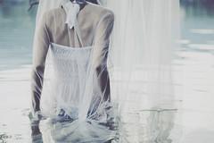 Safe from harm (mickiky) Tags: portrait woman white lake reflection water lago donna back veil arms transparency acqua voile bianco ritratto velo giulia schiena riflesso braccia trasparenza avigliana clearness